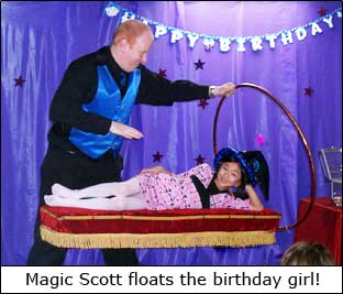 Kansas City Magician Scott Henderson Floats the Birthday Girl
